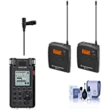 Sennheiser ew 112-p G3-A Wireless Microphone Kit with EK 100 G3 Diversity Receiver Frequency Band A (Range: 516-558MHz) - Bundle With Tascam DR-100MKIII Stereo Linear PCM Recorder, Cleanin Kit