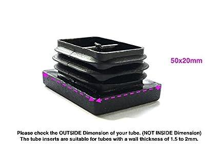 24 unidades Tapas para inserciones cuadradas y rectangulares acanaladas de pl/ástico negro fabricadas en Alemania