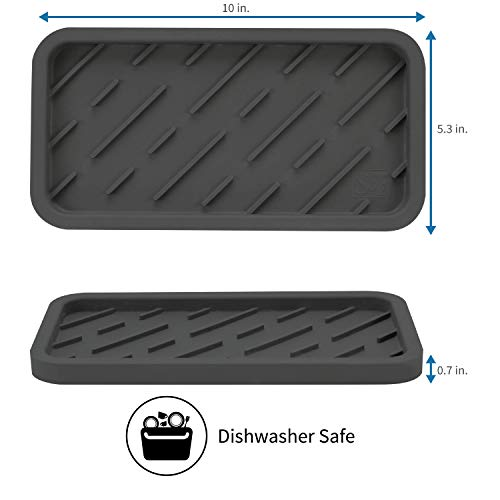 S&T INC. Large Silicone Kitchen Sink Tray for Dish Soap Dispensers, Sponges, and Scrubbers, 10 Inch x 5.3 Inch, Grey