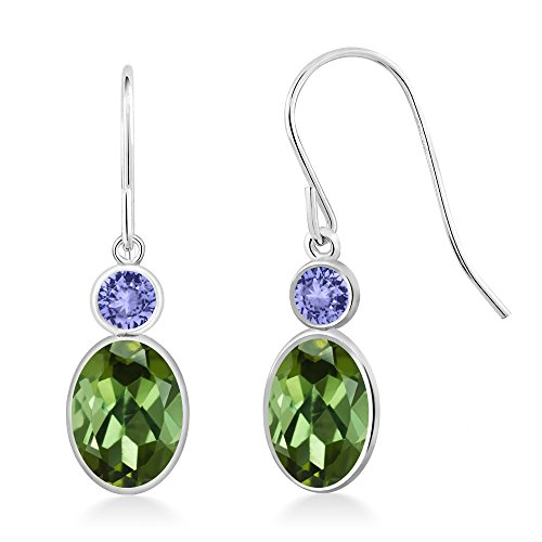 Gem Stone King 1.94 Ct Oval Green Tourmaline Blue Tanzanite 14K White Gold ()