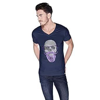 Creo Beard Skull Simon T-Shirt For Men - Xl, Navy Blue