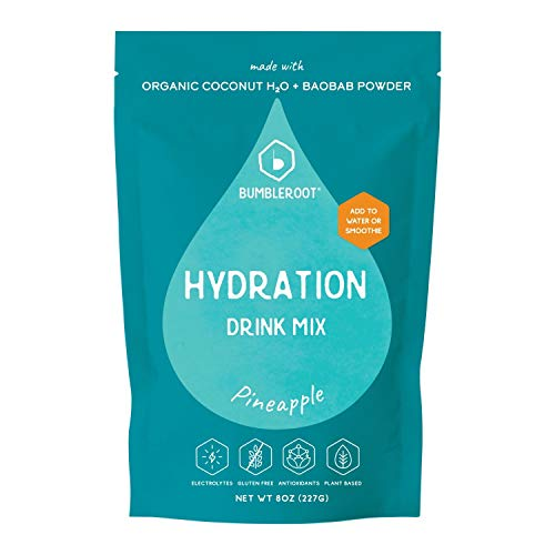 Bumbleroot Hydration Mix | Made with Organic Coconut Water & Baobab | Electrolyte Powder | No added sugars | 8 oz - 19 servings (Pineapple)