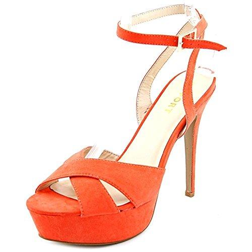 Report Signature Womens Valleta Open Toe Ankle Wrap Platform, Coral, Size 8.0