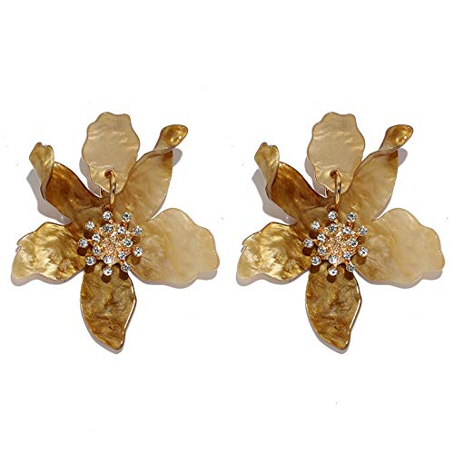 (GaFree Fashion Resin Acrylic Flower Drop Earrings Bohemian Luxury Oversize Big Flower Earrings For Women, Light Brown)