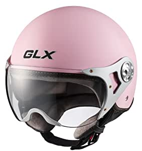 GLX Copter Style Open Face Motorcycle Helmet (Matte Pink, Small)