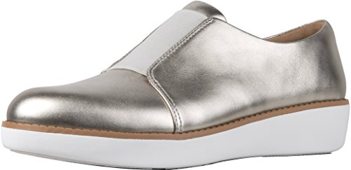 FitFlop Women's Laceless Derby Leather Slip-On Oxford Shoes Silver Size 10