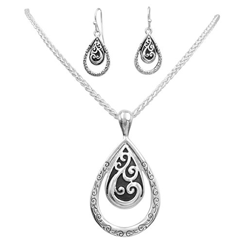 Gypsy Jewels Simple Pendant Silver Tone Boutique Style Statement Necklace & Dangle Earring Set (Double Teardrop)