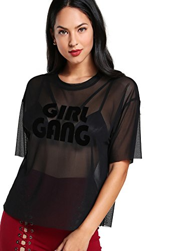 a7a7f653fd MakeMeChic Women's Summer Half Sleeve Tops See Through Mesh Sheer Sexy  TShirt Blouse Black 1 XS | WantItAll