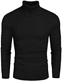 Men's Slim Fit Turtleneck Sweater Casual Knitted Twisted Pullover Solid Sweaters