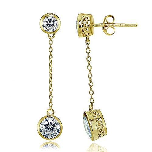 Yellow Gold Flash Sterling Silver Cubic Zirconia Bezel-Set Dangling Earrings - Earrings Drop Set Bezel