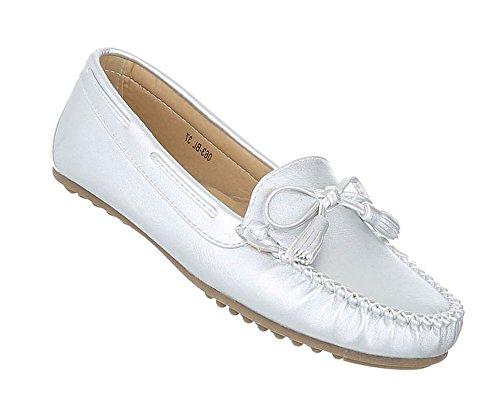 Bequeme Damen Mokassins | Loafers Slipper Velours | Leder-Optik Flats | Profilsohle Schleife Bommel | Segelboot Schuhe | Rutschfeste Sohle | Schuhcity24 Silber