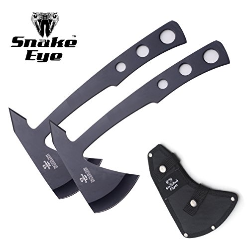 Snake Eye Tactical Compact Tomahawk Full Tang Camping Axe Outdoors Hunting Fishing Throwing Survival (Black 2PC)