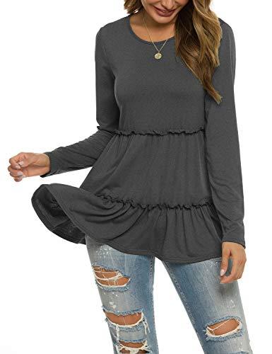 Womens Ruffle Tunic Loose Long Sleeve T-Shirt Lightweight Fall Clothes Dark Grey S