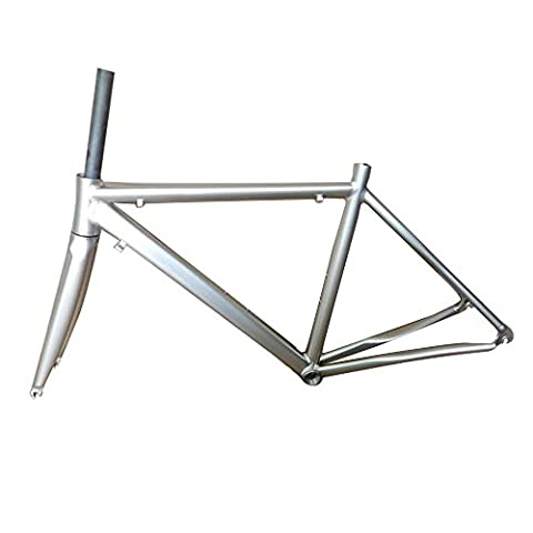 SOGAR Titanium-colored Aluminum Ultralight Road Bicycle Frame 700C 48cm Carbon Fork - Strada Del Carbonio Frame Set
