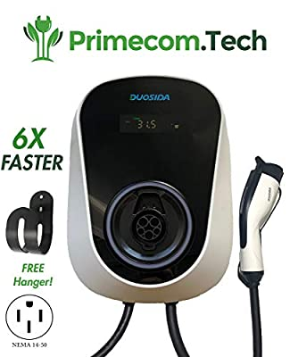 PRIMECOM 32Amp Smart Electric Vehicle (EV) Charging Station - Level 2 EVSE- 220/240 Volt- 32 Amp Electric Car Charger, Plug-in Station, 20 ft. Cable