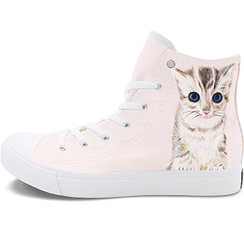 Price comparison product image Wen Fire Hand Painted Shoe Design Little Cat Female Girls Pink Canvas Sneakers