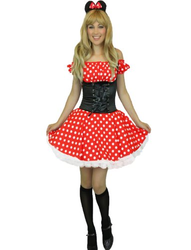 Yummy Bee Womens Miss Mouse Fairytale Party Costume + Stockings Size Red 8 (Fairy Tale Outfits For Adults)