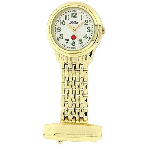 Reflex Gold Tone Nurses Fob Watch In Presentation Tin - Presentaion Box