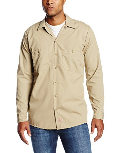 Dickies Occupational Workwear LL535DS LT Polyester/Cotton Men's Long Sleeve Industrial Work Shirt, Large Tall, Desert Sand
