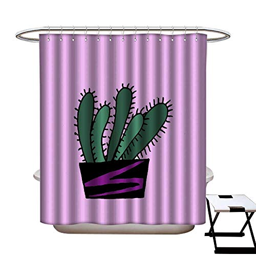 warmfamily Shower Curtain with Hooks Hand Drawn dot Cactus a Pot Isolated on Color Background illustration1 Shower CurtainW72 x L84