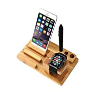Forepin® Support de Charge, Charging Dock Support Station d'accueil Porte-Cradle pour Watch Apple Iphone et Ipod Cradle Bois Support Bureau Organizer Multi-Device Charging Dock Holder pour tous les iPhones iPads