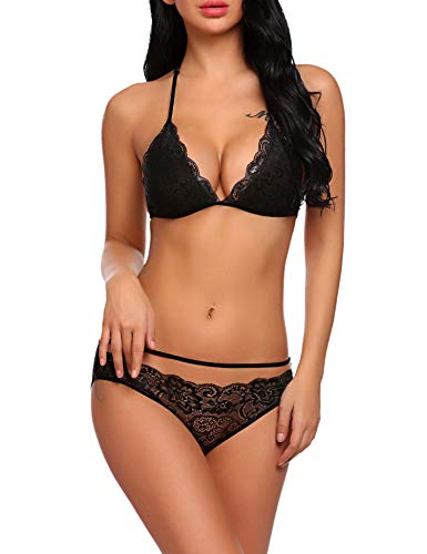 0738aab20d ADOME Women s Lingerie Set Lace Embroidery Bra and Panty Babydoll Bodysuit