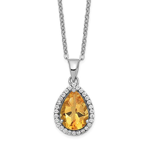 (925 Sterling Silver Yellow Citrine Cubic Zirconia Cz Chain Necklace Set Pendant Charm Gemstone S Pear Birthstone Fine Jewelry Gifts For Women For Her)