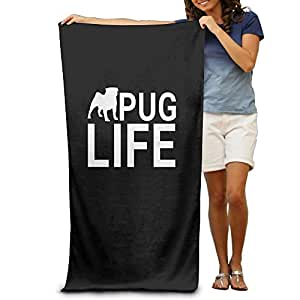 Pug Life Beach Bath Pool Hooded Extra Large Towels Blanket For Adult