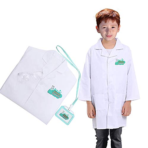 Luyee Lab Coat for Kids Scientist Dress Up Costume Role Play Set Doctor Scrub Uniforms Including Goggle and Personalized ID Card, M/Age 4~8 -