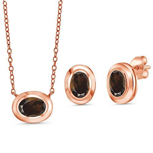 Smoky Quartz Swarovski Necklace (2.25 Ct Brown Smoky Quartz 18K Rose Gold Plated Silver Pendant Earrings Set)