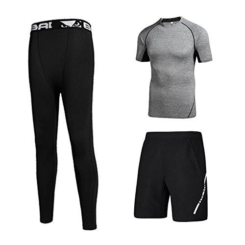 中欲しいです課すコンプレッションウェア 3点セット メンズ トレーニング スポーツウェア 半袖 ハーフパンツ タイツ 吸汗速乾