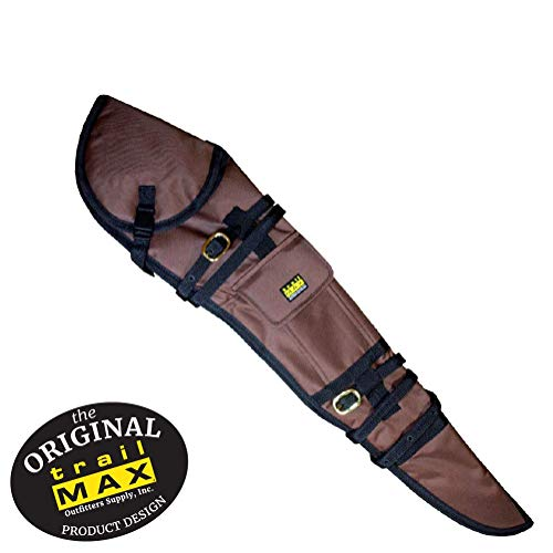 TrailMax Rifle Scabbard, Soft-Sided Gun Case, Quick Access, Accommodates 26 inch Barrel & 56mm Scope with 1 inch Turrets, Secure on a Horse or ATV, PVC-Coated 600-denier Poly Shell, Brown (Leather Gun Scabbard)