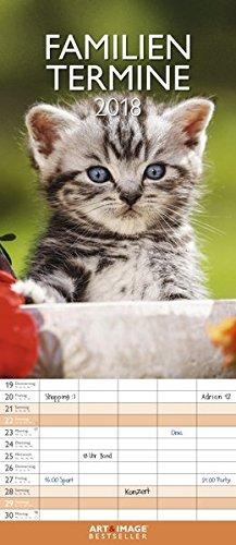 Kätzchen 2018 - Katzenkalender, Familienplaner, Tierkalender, Familienkalender - 19,5 x 45 cm