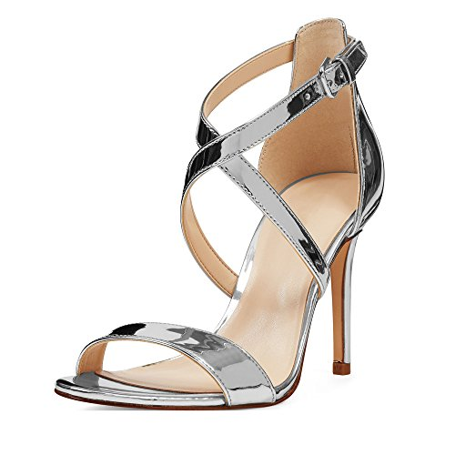 Strap Shoes Cross Dress Ankle Toe Heeled Sandals EDEFS High Silver Open Womens qwURFU