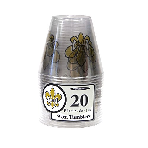 Party Essentials N92030 Hard Tumblers, 9 oz., Fleur De Lis, 5.75