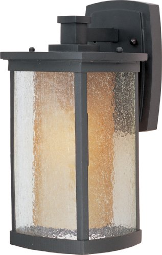 (Maxim 85653CDWSBZ Bungalow EE1-Light Wall Lantern, Bronze Finish, Seedy/Wilshire Glass, GU24 Fluorescent Fluorescent Bulb , 60W Max., Dry Safety Rating, Standard Dimmable, Glass Shade Material, 1344 Rated Lumens)