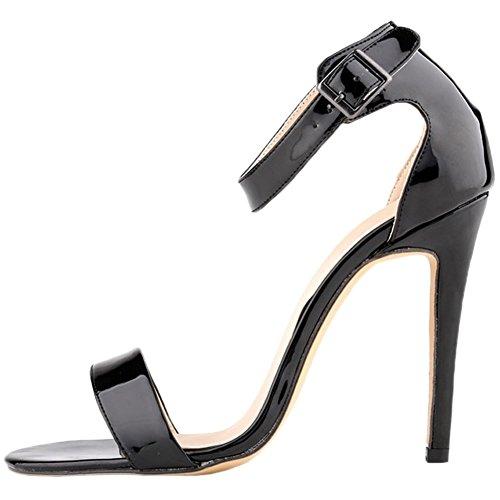 HooH Mujer Tacón alto Sandalias Verano Peep Toe Correa de tobillo Hebilla Zapatos de tacón Negro