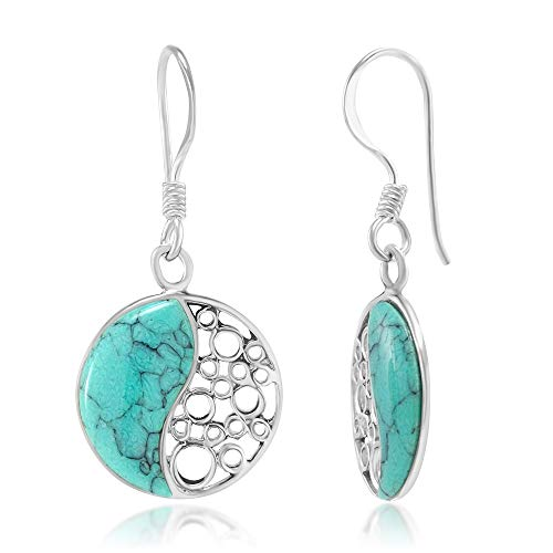 925 Sterling Silver Blue Turquoise Stone Inlay Yin Yang Dangle Hook Earrings