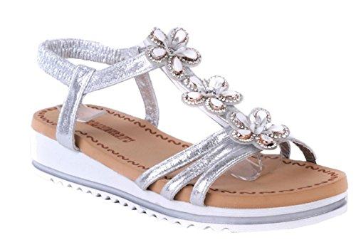 Chaussures CRAZY Slingback Talon D'été Fleur Élastique SHU Argent O71 Femmes Été Métallique Sandales Dames Gladiateur Compensé YdqOnwASfw