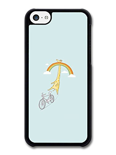 Giraffe Riding a Bike in Sky with Rainbow Funny Design case for iPhone 5C