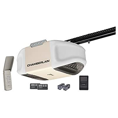 Chamberlain PD612EV Garage Door Opener, 1/2 HP, Durable Chain Drive Operation, MyQ Smartphone Control Enabled (Internet Gateway Sold Separately), Includes 2-3 Button Remotes, Keyless Entry Keypad, Multi-Function Wall Control Panel from Chamberlain