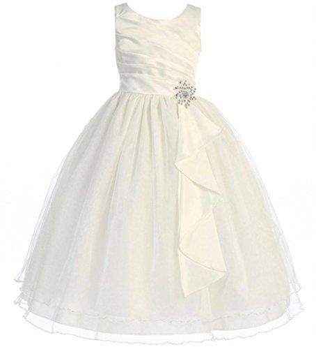 AkiDress Satin & Tulle Sleeveless Flower Girl Dress with Rhinestone (Ivory Flower Shirt)