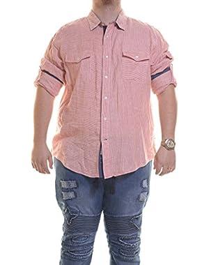 Slim Fit Linen Stripe Sportshirt Size S