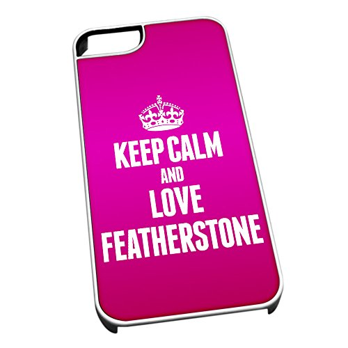 Bianco cover per iPhone 5/5S 0255Pink Keep Calm and Love Featherstone