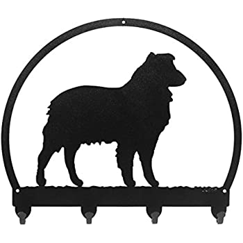 SWEN Products OLD ENGLISH SHEEPDOG Black Metal Key Chain Holder Hanger