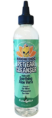 New All Natural Pet Ear Cleaner for Dogs and Cats | Eucalyptus & Aloe Vera Cleaning Treatment for Ear Mites Yeast Infection Fungus & Odor | Gentle Solution Cleanser for Ears - 1 Bottle 8oz (240ml)