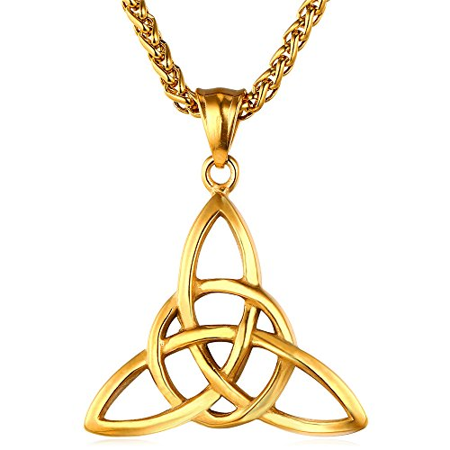 (JAJAFOOK Stainless Steel Retro Plated 18K Gold Irish Celtic Knot Trinity Pendant Necklace, 24