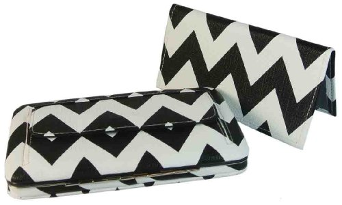 Texcyngoods Chevron Print Flat Wallet Zigzag Clutch Wallet with Checkbook Cover Black, Bags Central