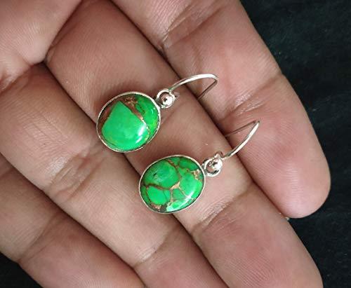 Green Copper Turquoise Earrings, Sterling Silver Earrings, Dainty Earrings, December Birthstone, Unique Earrings, Anniversary Gift, Birthstone Earrings, Gift For Her, Bridesmaids Gift, Gypsy Earrings
