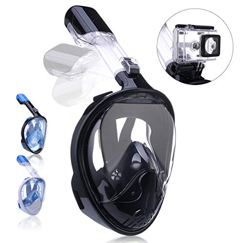 QingSong Snorkel Mask Full Face, Snorkeling Mask for Adults and Kids with Detachable Camera Mount, 180 Degree Large View Free Breath Dry Top Set Anti-Fog Anti-Leak Anti-UV -